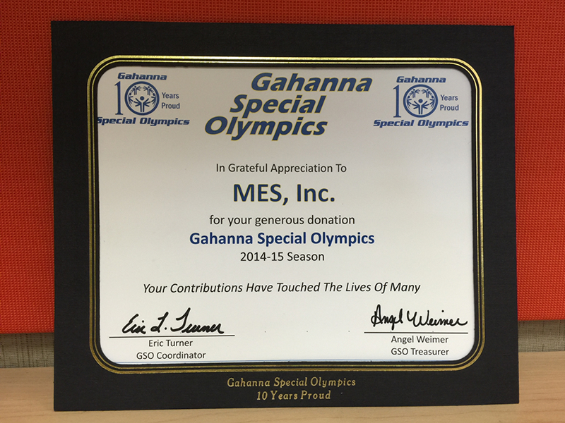 MES Special Olympics Donation Certificate - Community Outreach